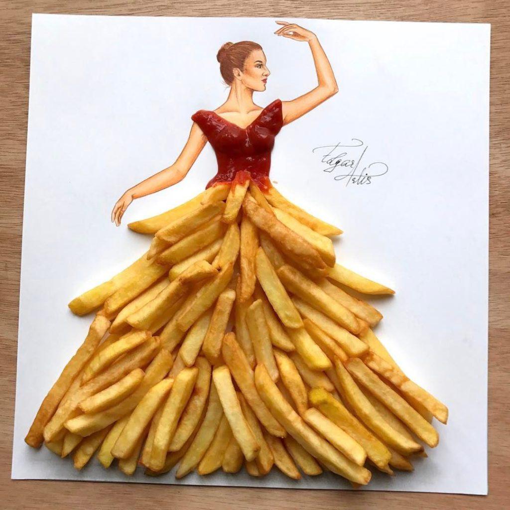 sukienka wykonana z frytek