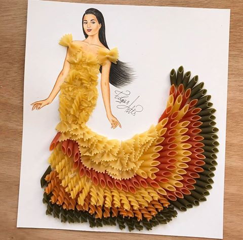 sukienka z makaronu